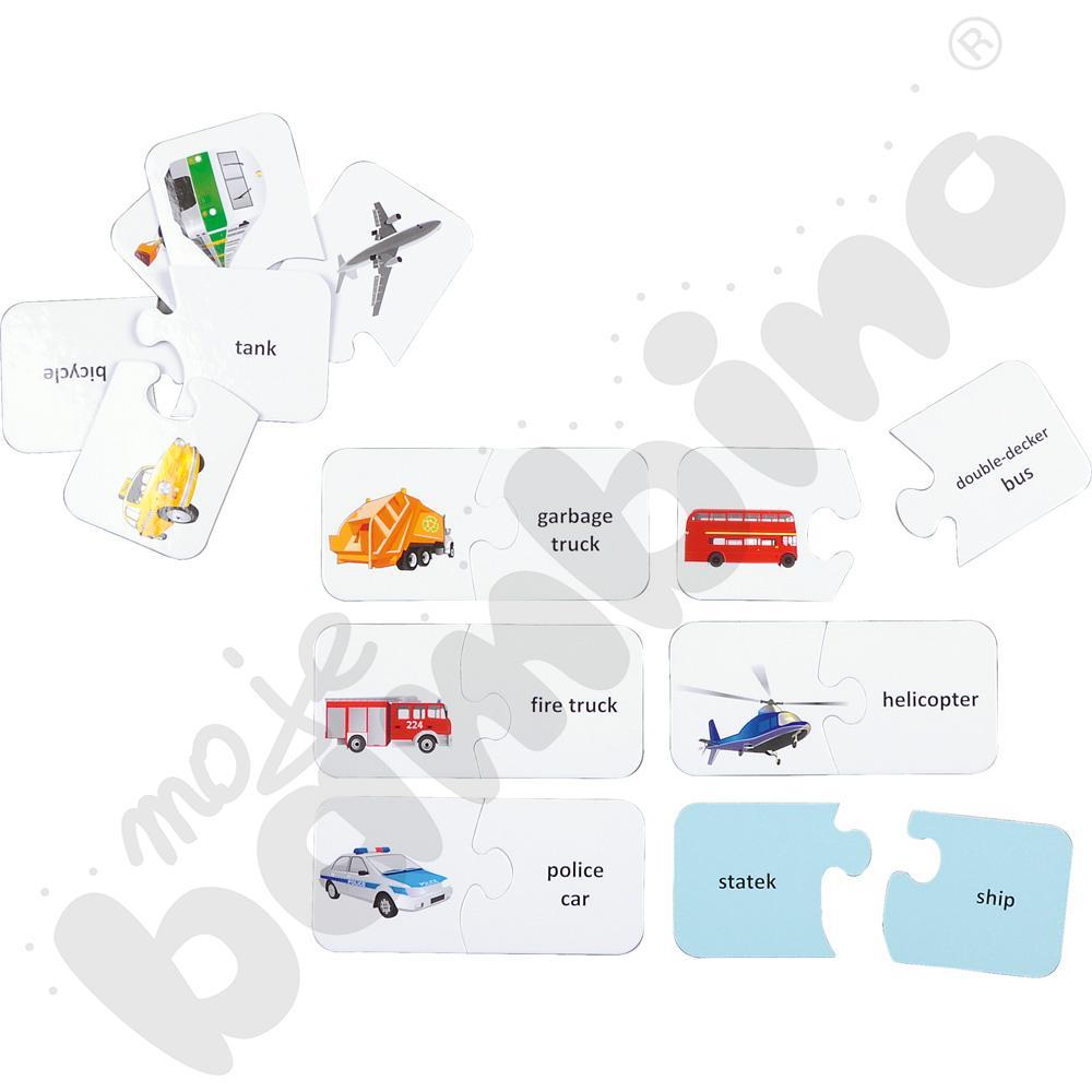 Dwustronne puzzle do j. angielskiego - pojazdy
