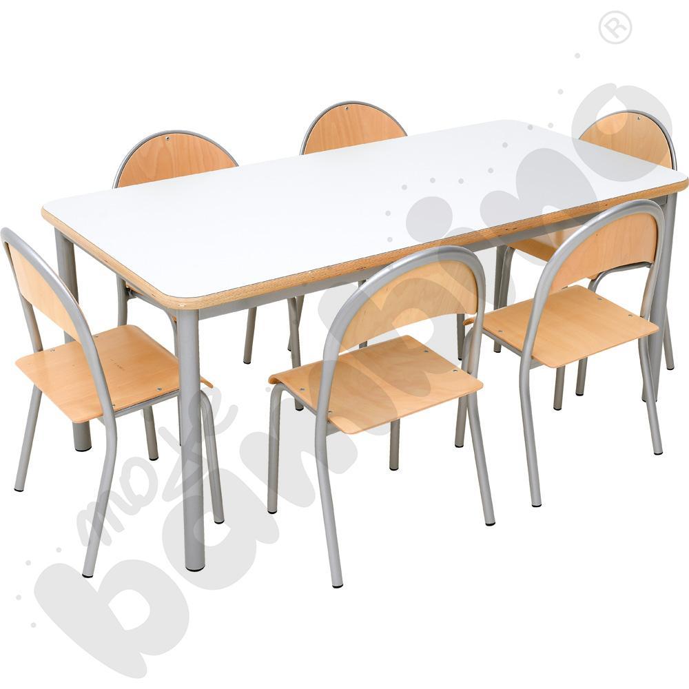 Stół Mila prostokątny z 6 krzesłami P rozm. 2
