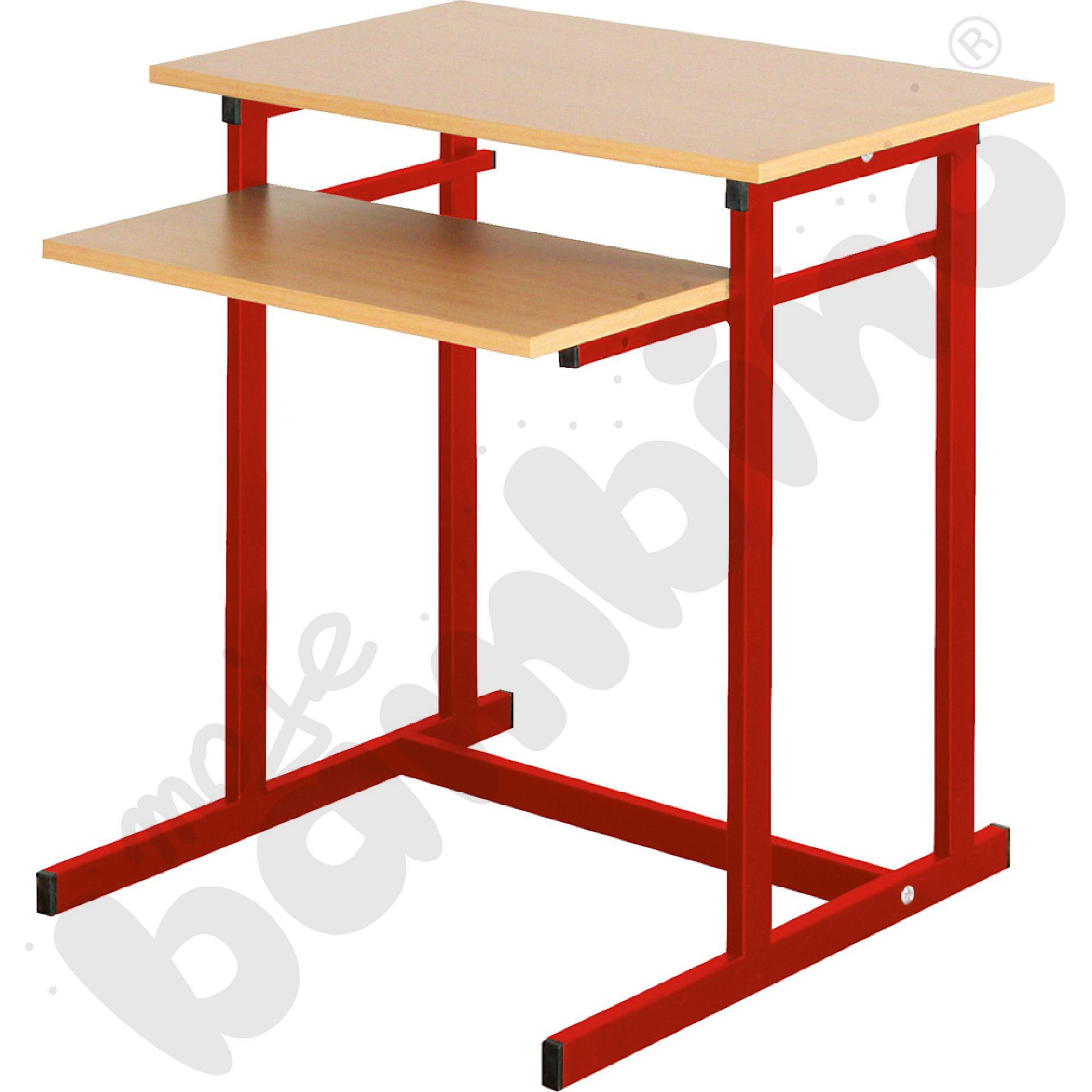 Stolik komputerowy NEO 1, 1-os. ze stałą półką na klawiaturę rozm. 6 - czerwony