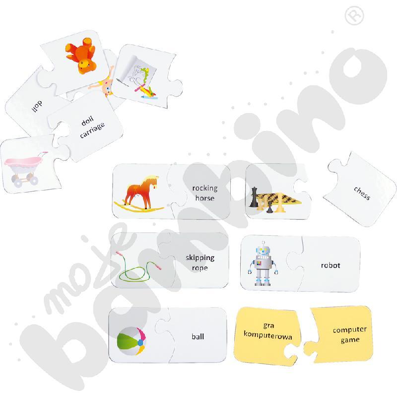 Dwustronne puzzle do j. angielskiego - zabawki
