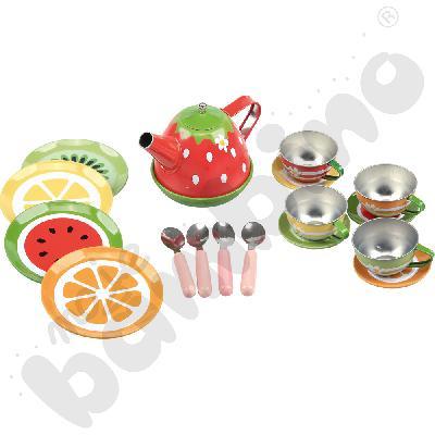Metalowy zestaw do herbaty - owoce