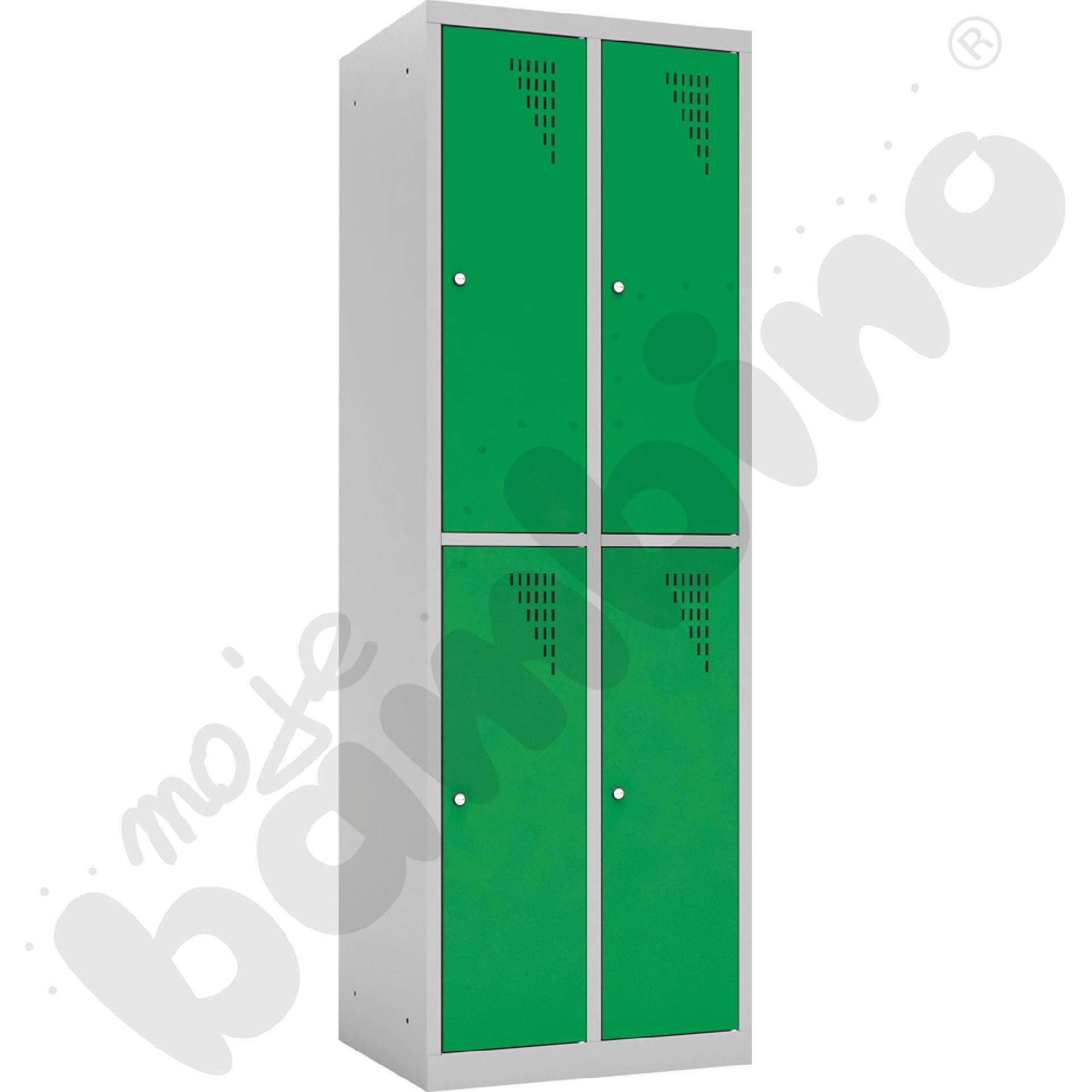 Szafka ubraniowa z 4 schowkami drzwi zielone