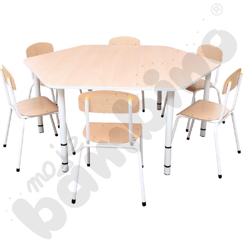 Stół Bambino sześciokątny + 6 krzeseł Bambino rozm. 3