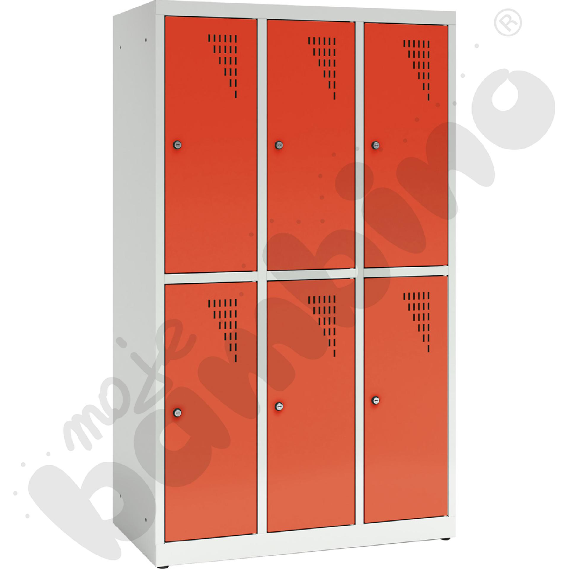 Szafa ubraniowa z 6 schowkami, 150 cm - drzwi czerwone