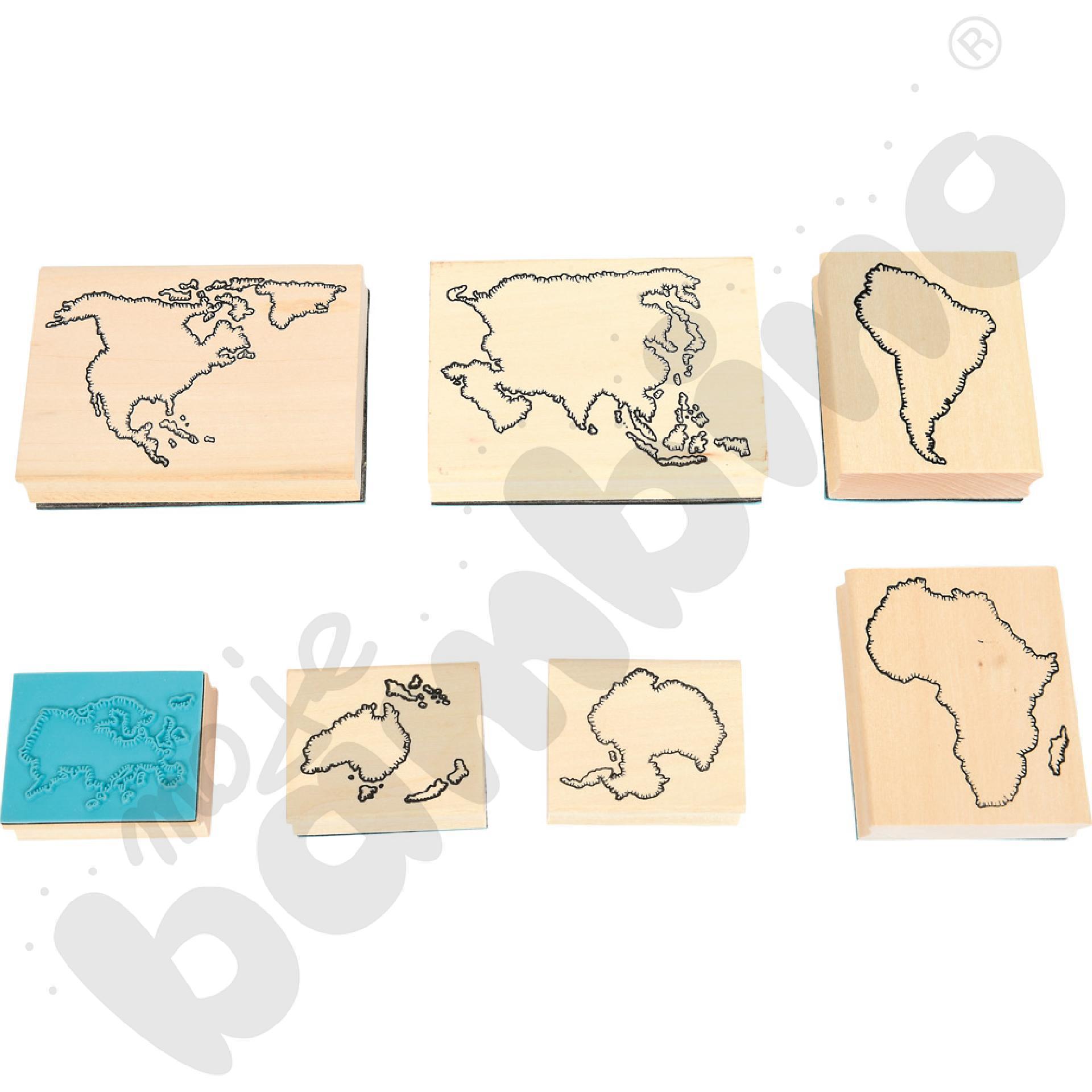 Drewniane stemple - kontynenty