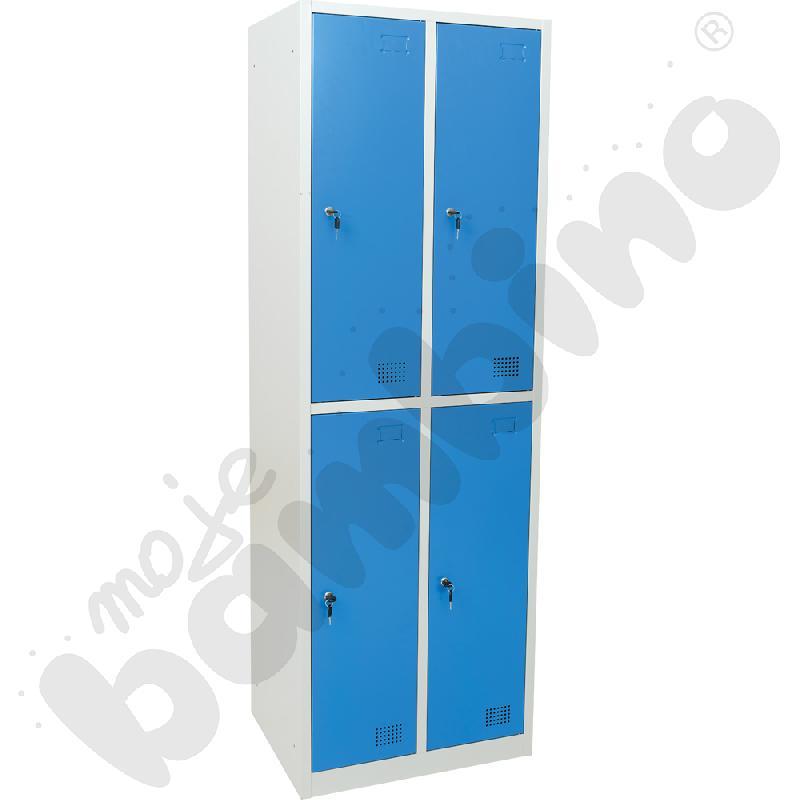 Szafka ubraniowa z 4 schowkami drzwi niebieskie