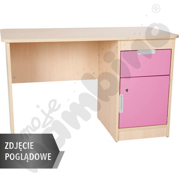 Quadro - biurko z szafką i 1 szufladą  - jasnoróżowe, w białej skrzyni