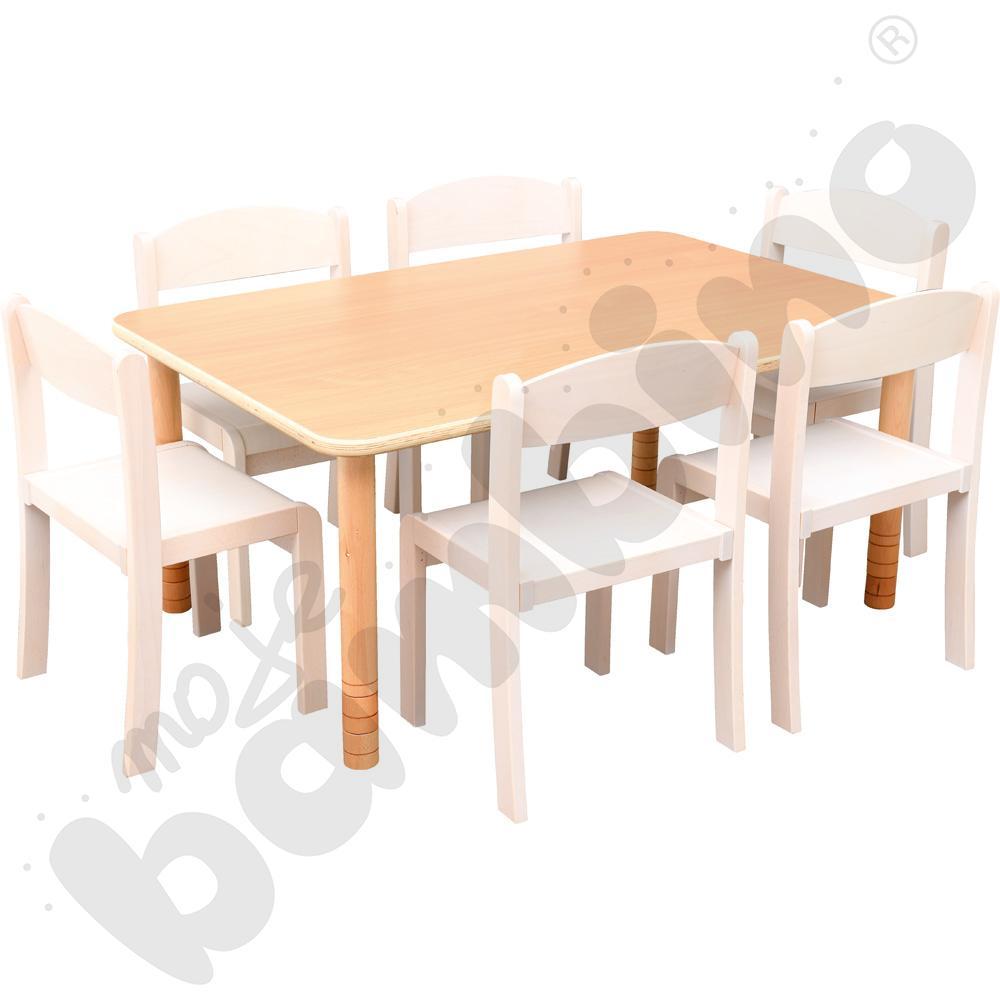 Stół Flexi prostokątny z 6 krzesłami Filipek rozm. 2