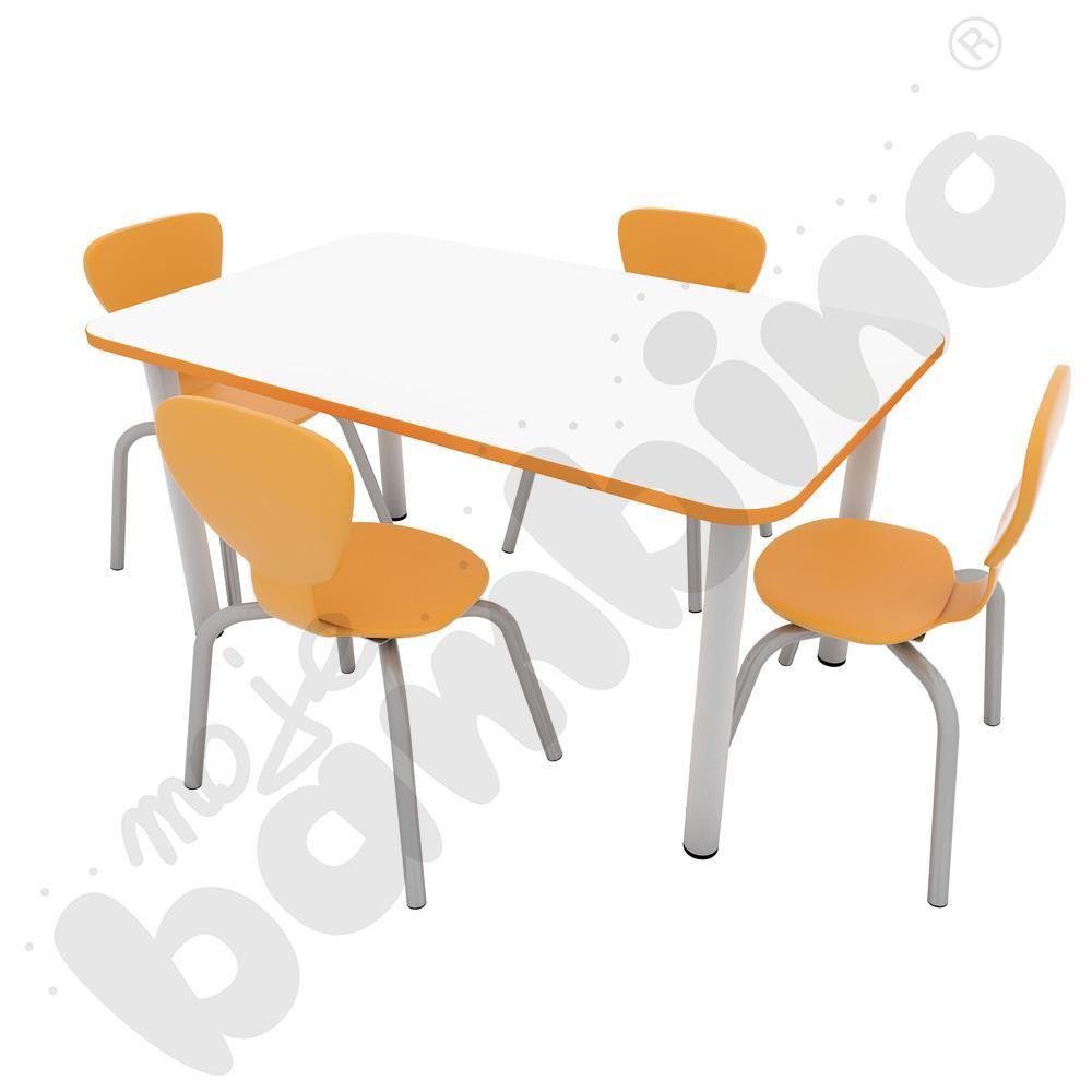 Stół Colores prostokątny z nogami metalowymi + 4 krzesła Flexi rozm. 3 pomarańczowe