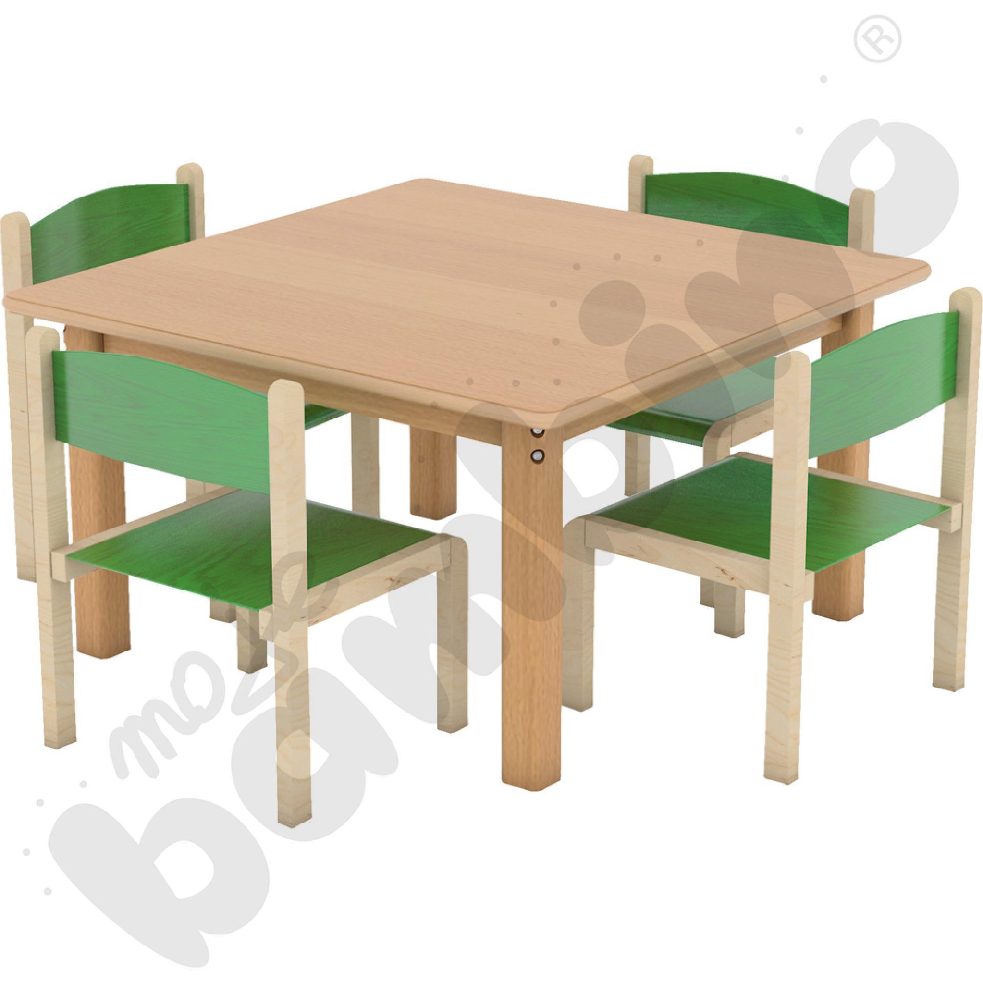 Stół HPL kwadrat + 4 krzesła Filipek rozm. 1 zielone