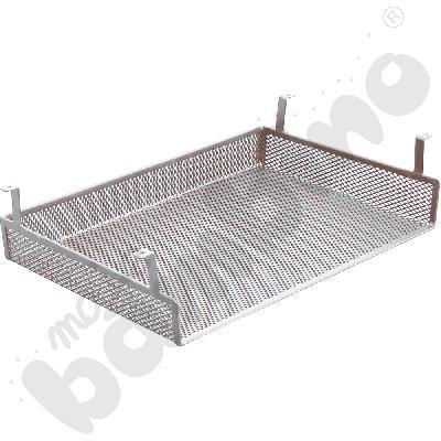 Półka metalowa do stołów, do zamocowania pod blatem - srebrna