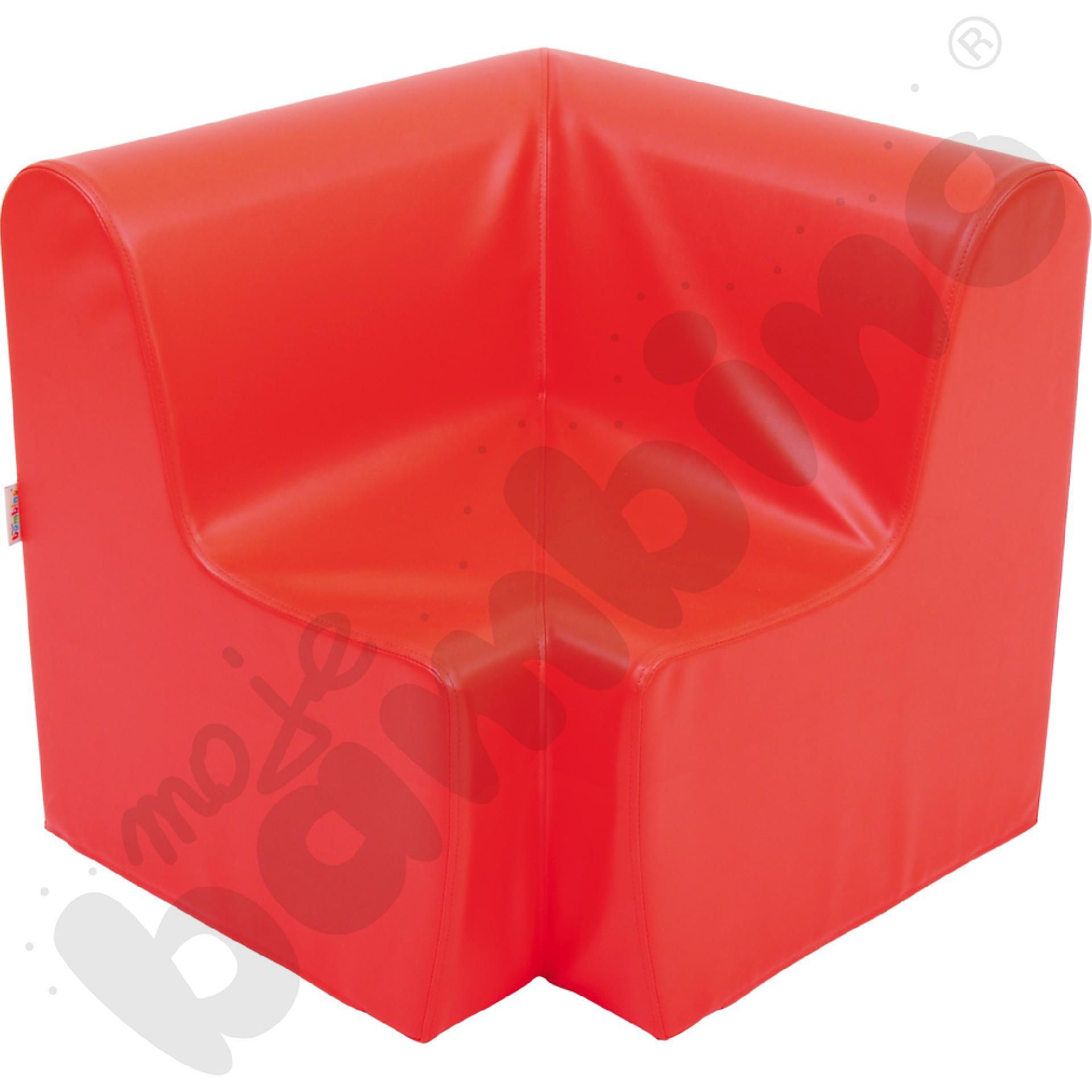 Duży fotelik rogowy czerwony