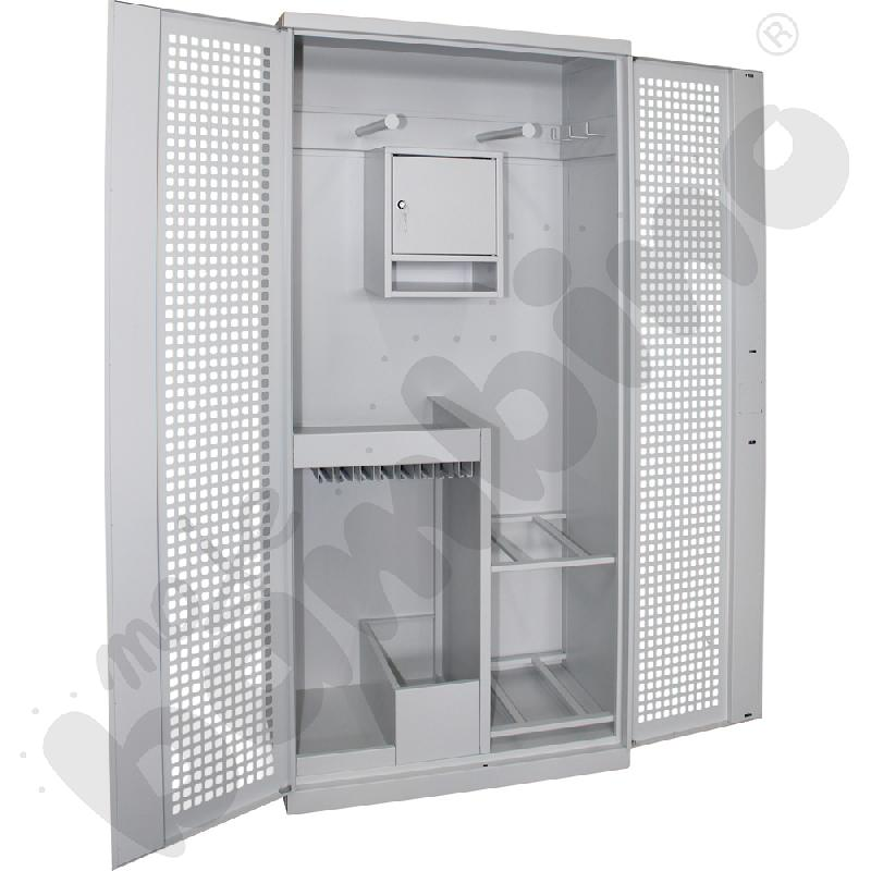 Szafa na sprzęt sportowy ze skarbczykiem i perforowanymi drzwiami