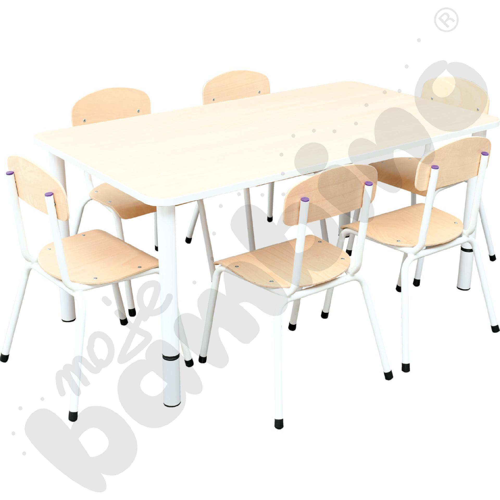 Stół Bambino prostokątny z 6 krzesłami Bambino rozm. 2.