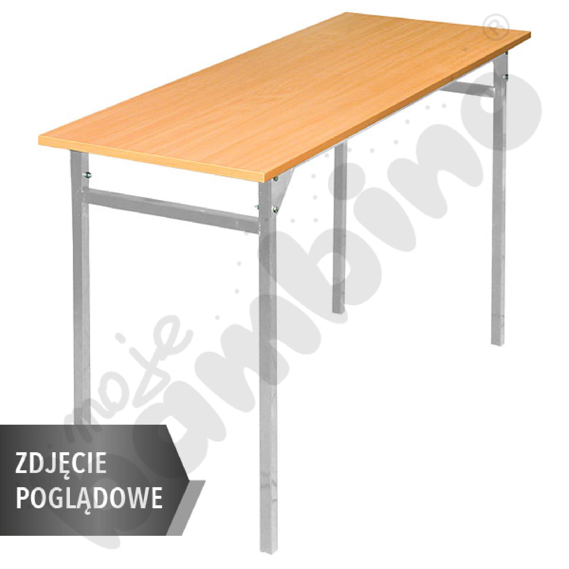 Stół B 130x50 rozm. 6, 2os., stelaż czarny, stopka plastikowa, blat brzoza, obrzeże ABS, narożniki zaokrąglone