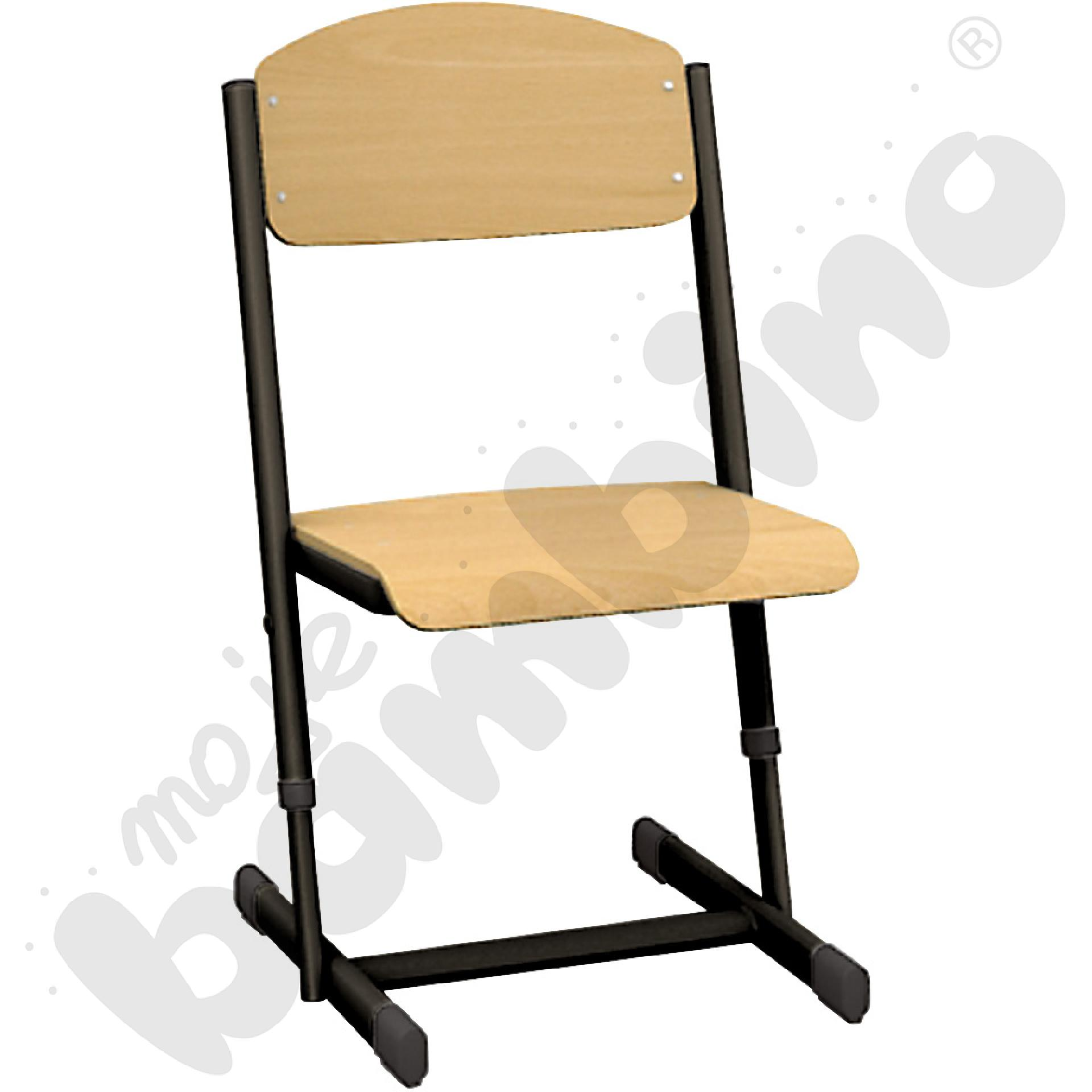 Krzesło T z regulowaną wysokoscią rozm. 5-6 czarne