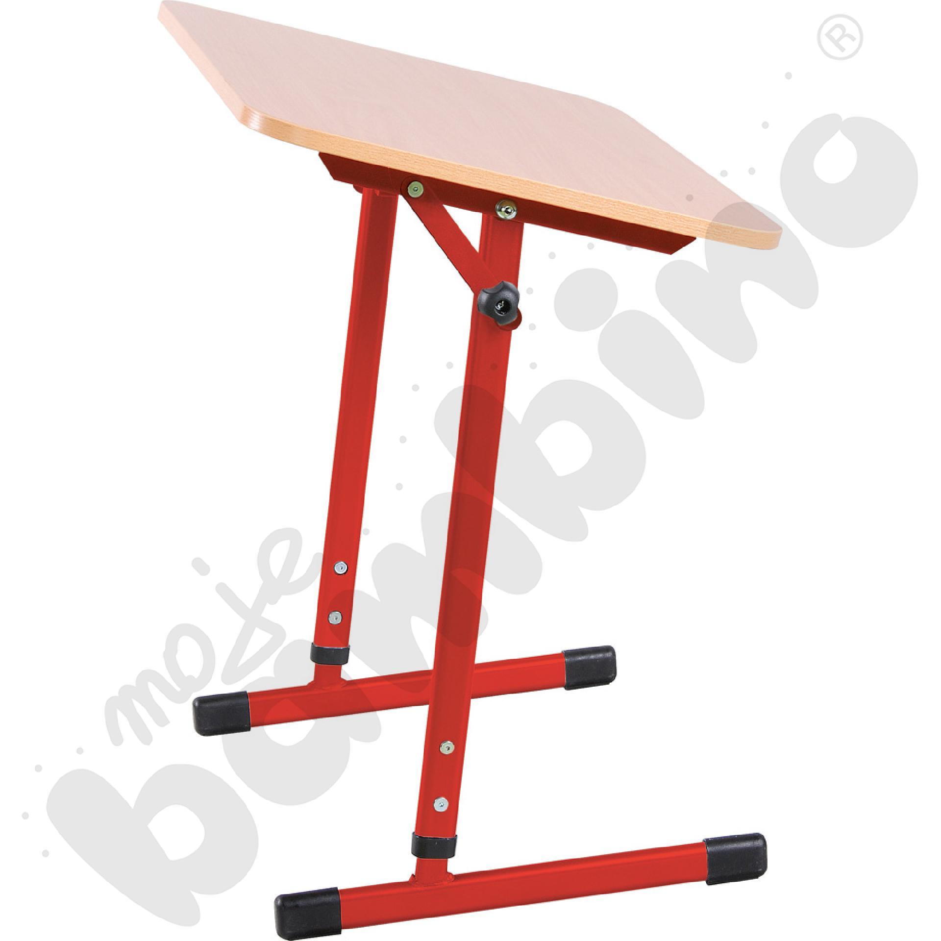 Stabilny stół pochylny 1-os. T 5-6 czerwony