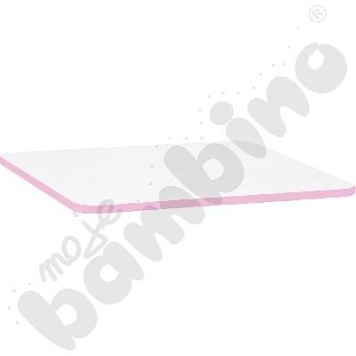 Blat Quadro biały prostokątny, jasnoróżowe obrzeże