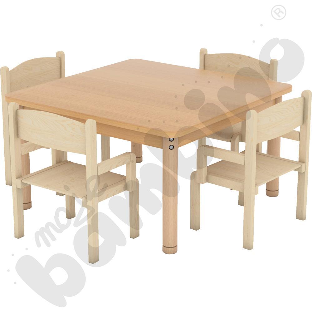 Stół kwadratowy z nogami okrągłymi buk + 4 krzesła Krzyś rozm. 0