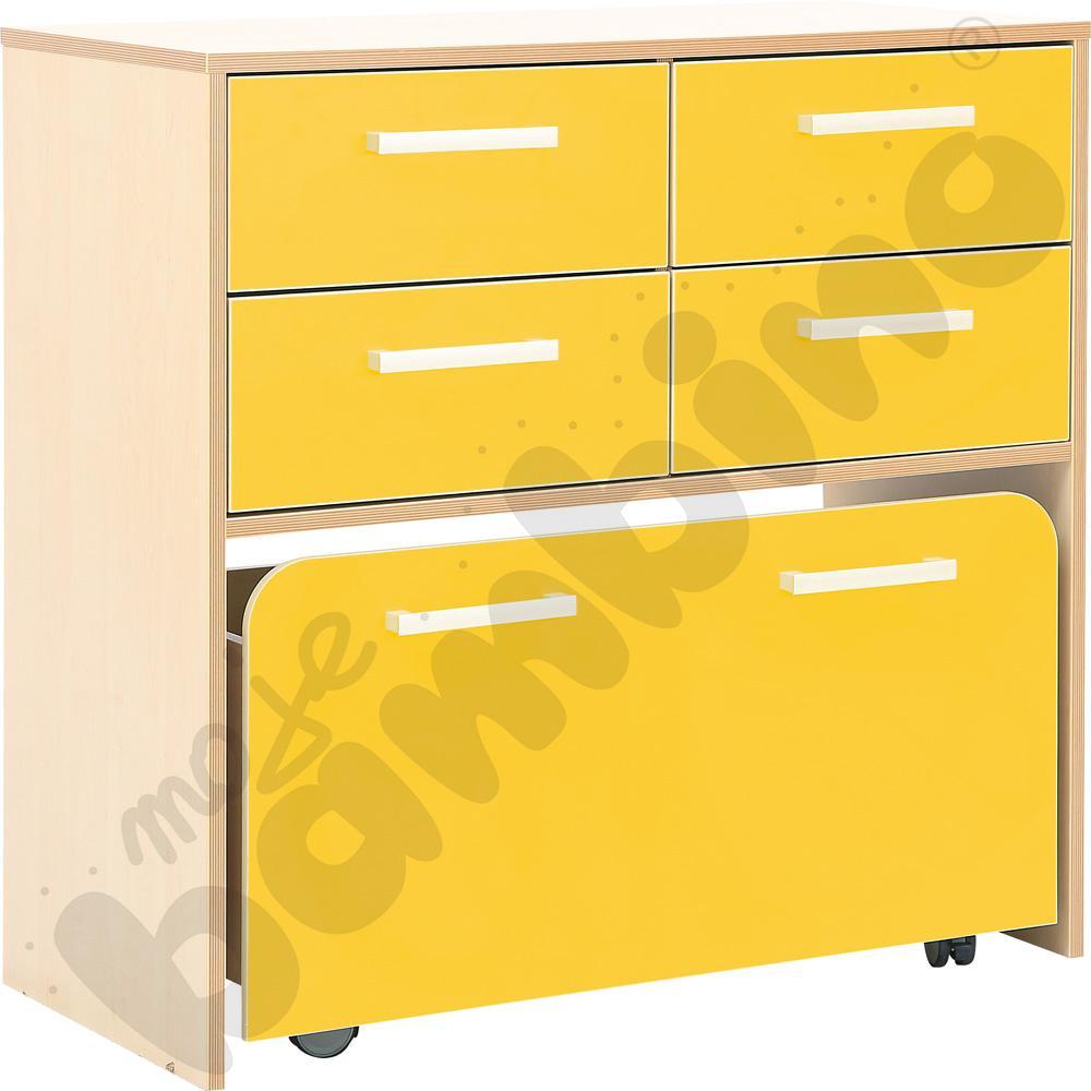 Szafka Premium z pojemnikiem na kółkach - żółta