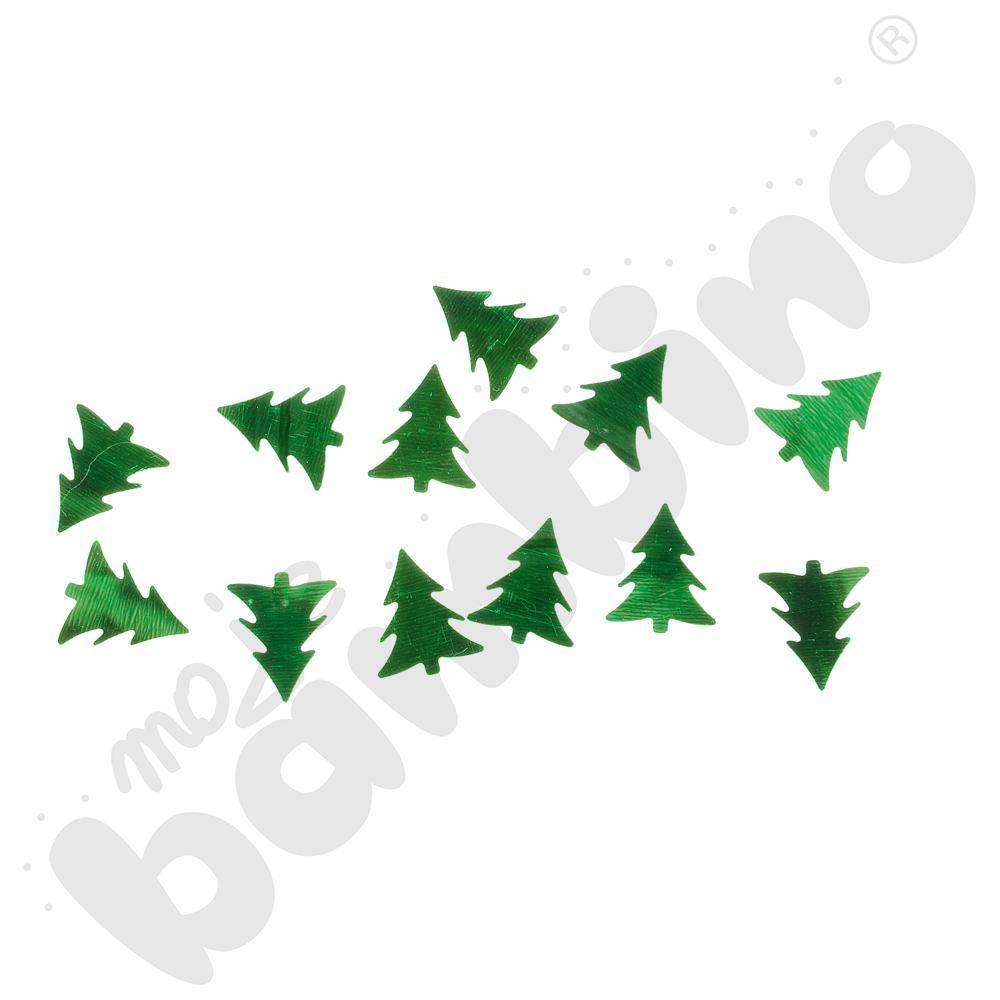 Cekiny świąteczne - zielone choinki