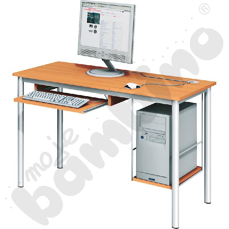 Stolik komputerowy LUX  z półką na komputer i szufladą na klawiaturę - buk