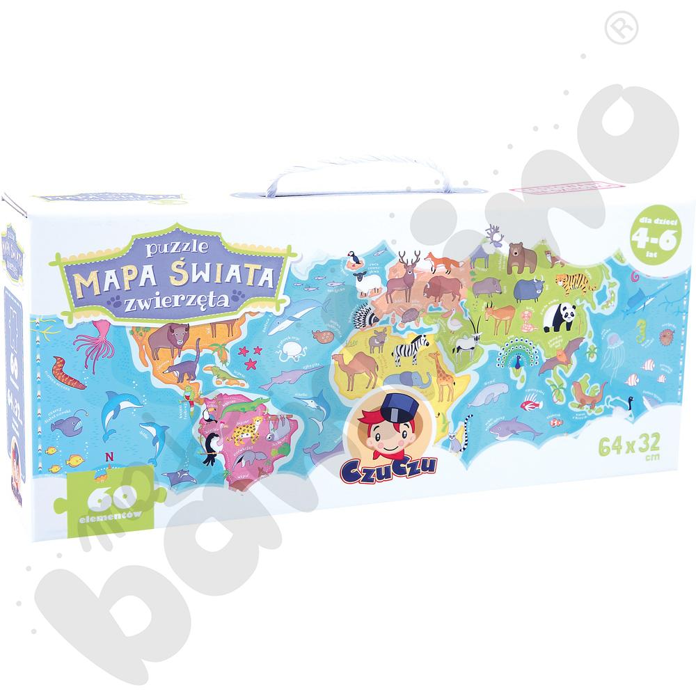 Puzzle Mapa świata - zwierzętaaaa