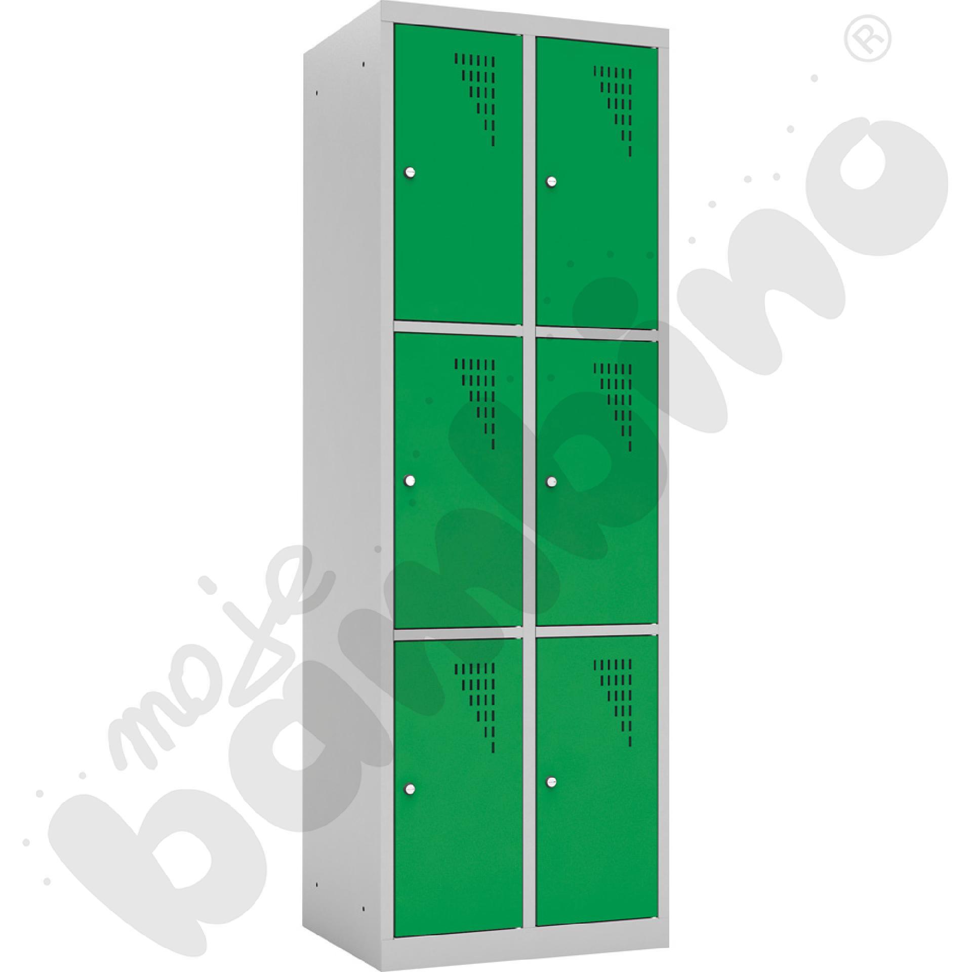 Szafka ubraniowa z 6 schowkami drzwi zielone
