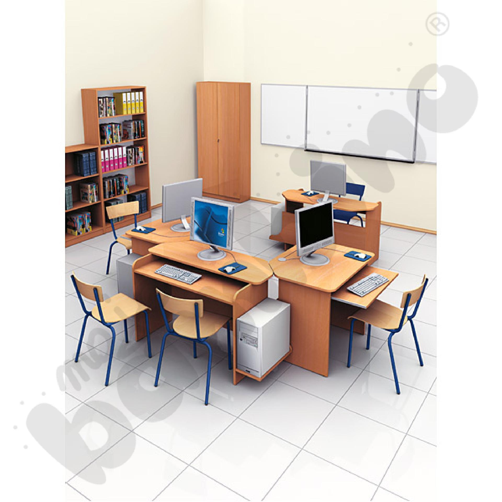 Stolik komputerowy SIMPLEX 1-os. z ruchomą półką na klawiaturę - buk