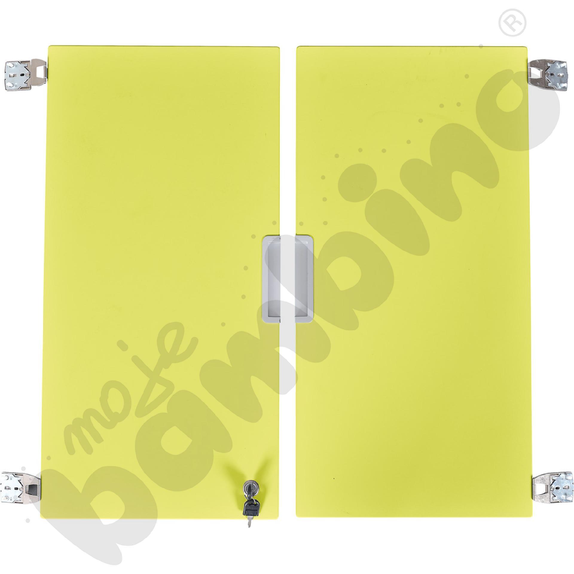 Quadro - drzwiczki średnie z zamkiem 90, do szafek bez przegrody, 1 para, cichy domyk - limonkowe