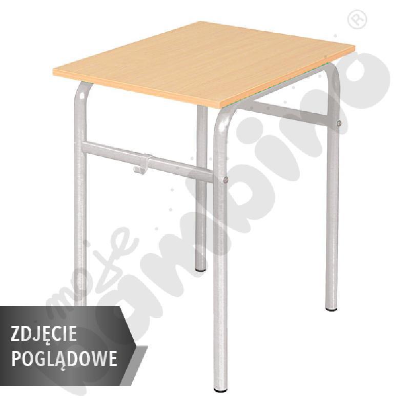Stół Daniel 70x50 rozm. 4-6, 1os., stelaż żółty, blat HPL szary, obrzeże drewniane, narożniki proste