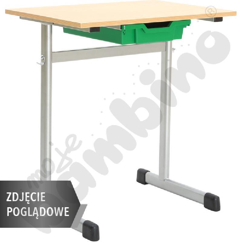 Stół G 70x55 rozm. 3, 1os., stelaż zielony, blat biały, obrzeże ABS, narożniki zaokrąglone