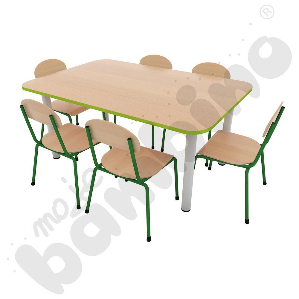Stół Premium prostokątny z nogami metalowymi + 6 krzeseł Bambino rozm. 2 zielonych