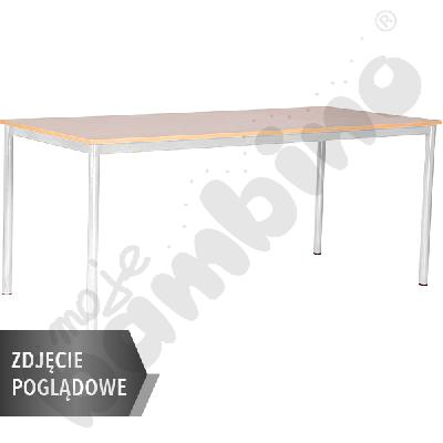 Stół Mila 180x80 rozm. 6, 8os., stelaż czerwony, blat klon, obrzeże ABS, narożniki proste