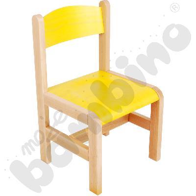 Krzesło drewniane żółte ze stopką filcową rozm. 2