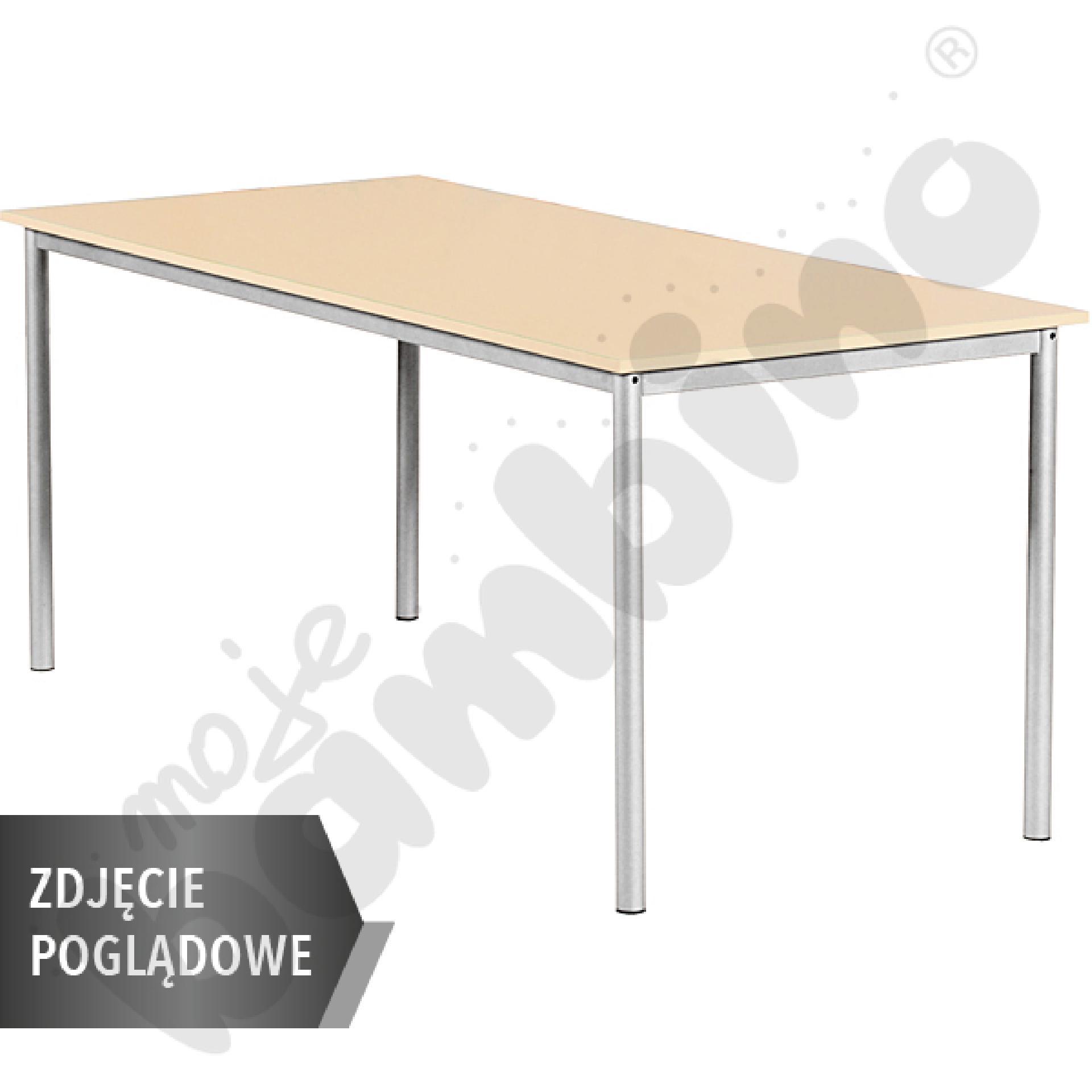 Stół Mila 160x80 rozm. 6, 8os., stelaż niebieski, blat buk, obrzeże ABS, narożniki proste