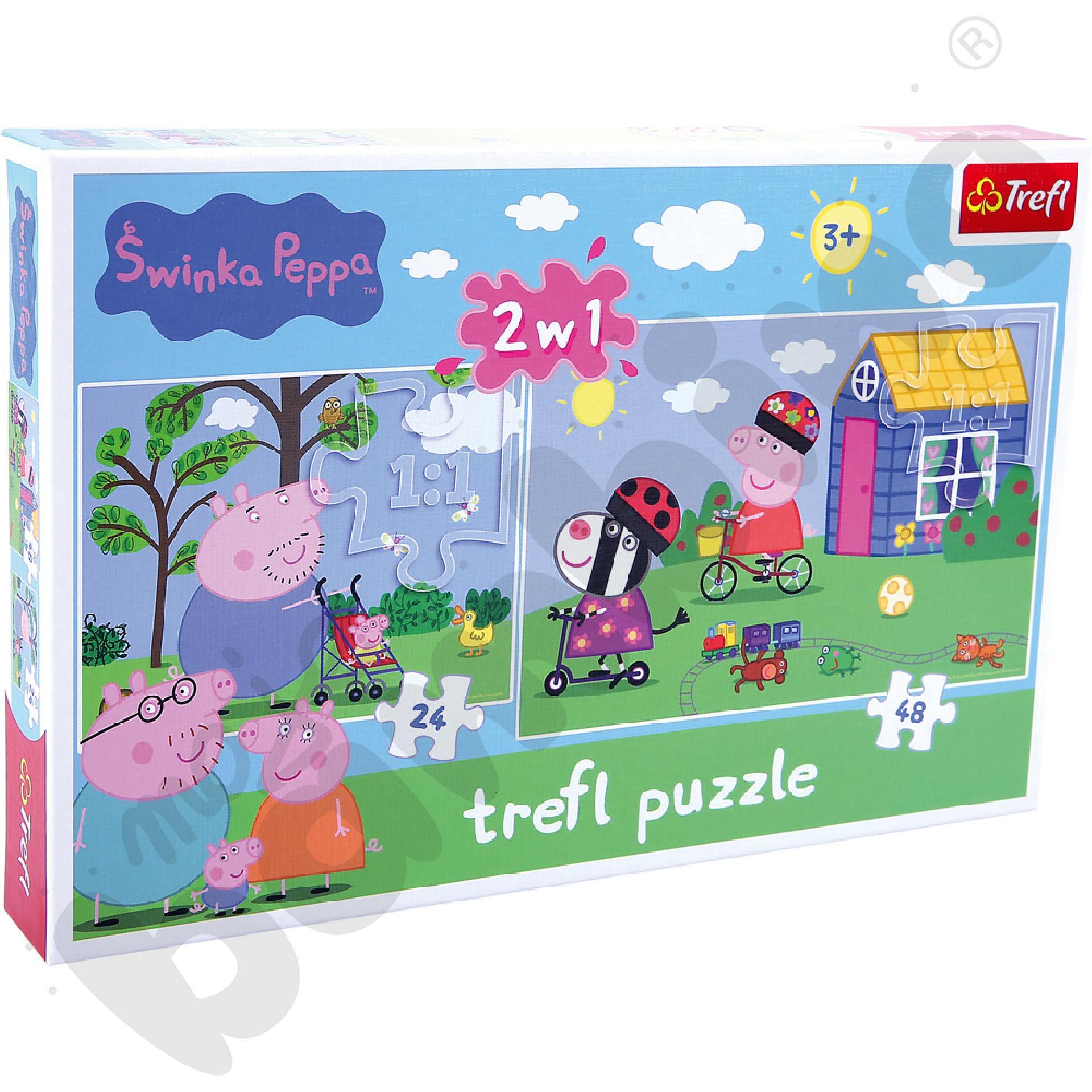 Puzzle 2w1 Świnka Peppa - Wiosna