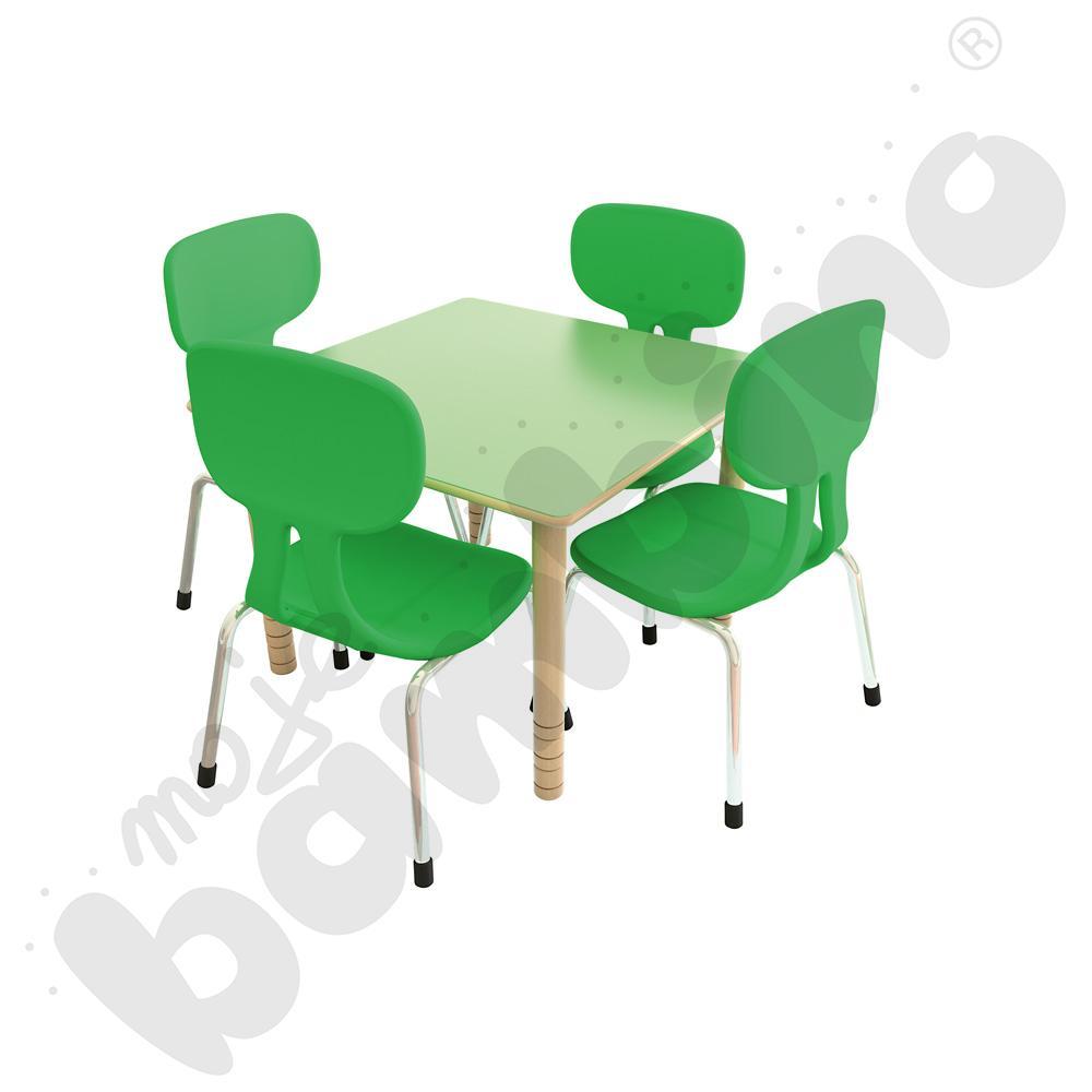 Stół Flexi zielony + 4 krzesła Colores zielone rozm. 2