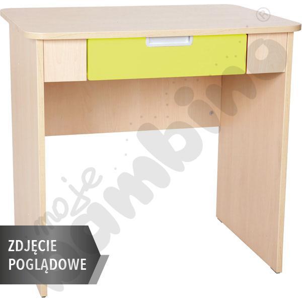 Quadro - biurko z szeroką szufladą - limonkowe, w białej skrzyni
