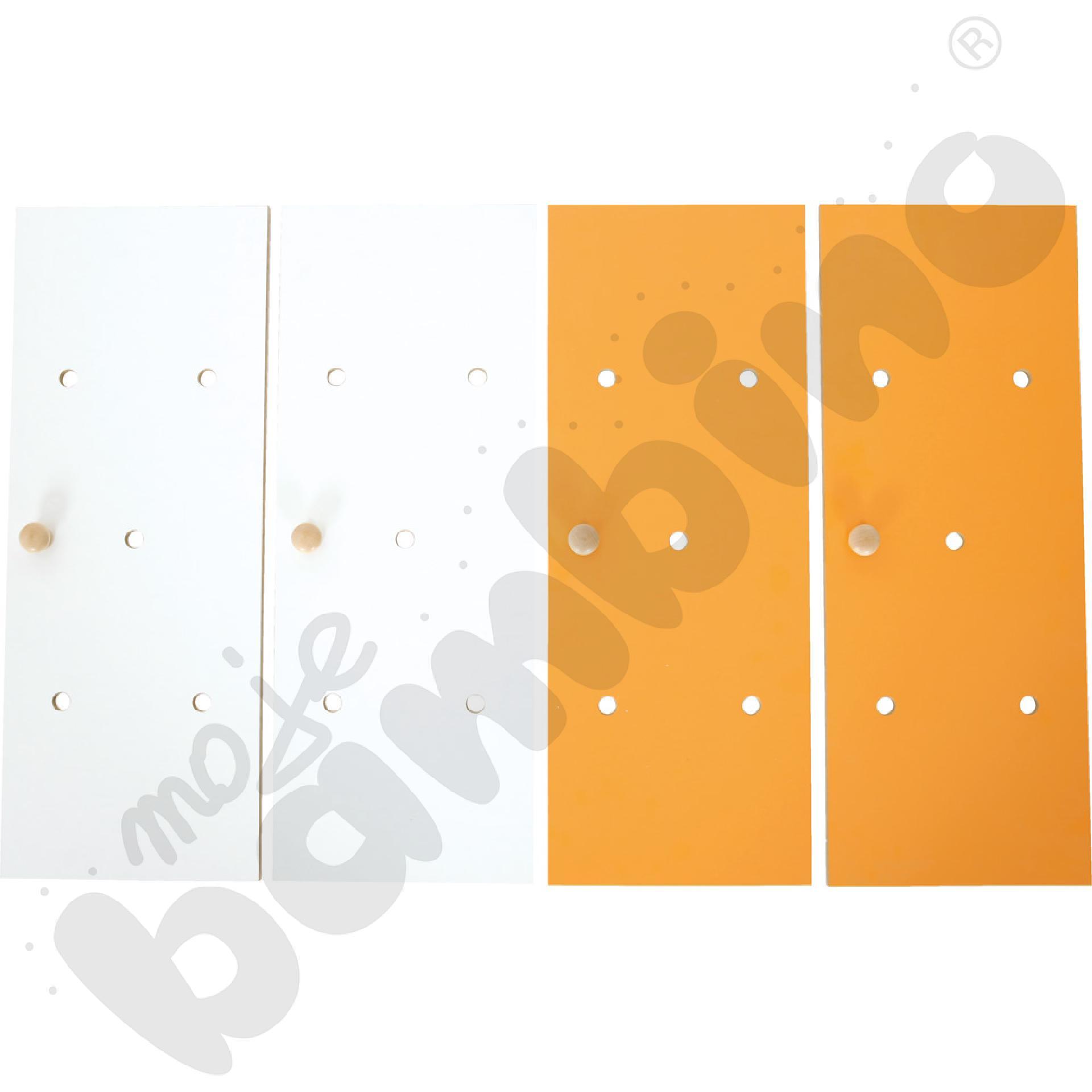 Drzwiczki do szatni tęczowej, biało-pomarańczowe, 4 szt.