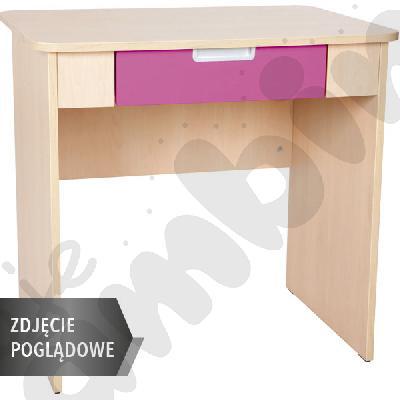 Quadro - biurko z szeroką szufladą - ciemnoróżowe, w białej skrzyni