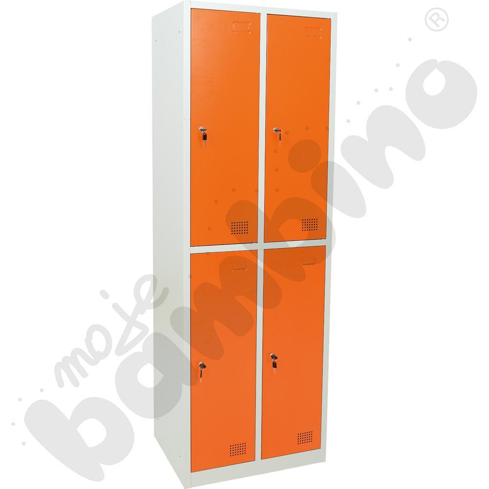 Szafka ubraniowa z 4 schowkami drzwi pomarańczowe