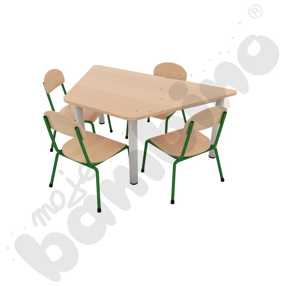 Stół Premium trapezowy z nogami metalowymi + 4 krzesła Bambino rozm. 1 zielone