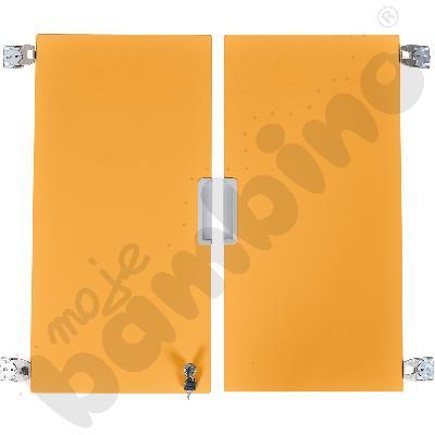 Quadro - drzwiczki średnie z zamkiem 90, do szafek bez przegrody, 1 para, cichy domyk - pomarańczowe