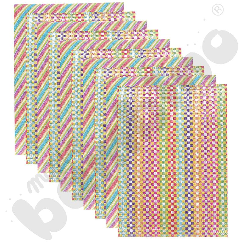 Folia piankowa brokatowa we wzory 10 szt.