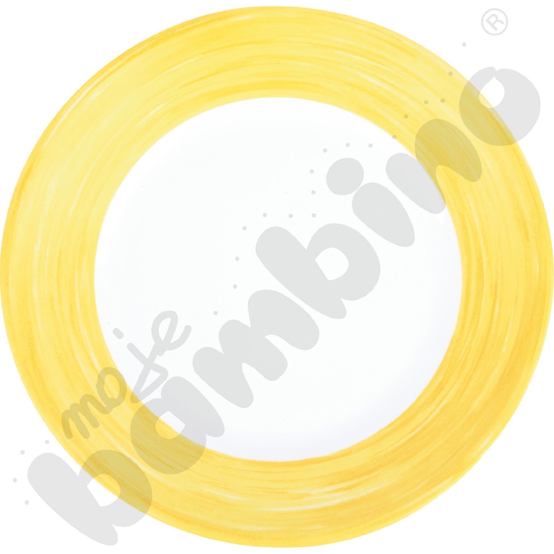 Talerzyk deserowy mały Brush - żółty