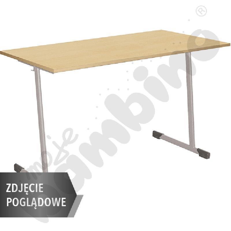 Stół T 130x50 rozm. 3-4, 2os., stelaż aluminium, blat buk, obrzeże ABS, narożniki proste