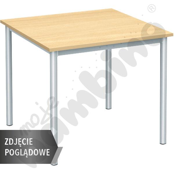 Stół Mila 80x80 rozm. 6, 4os., stelaż niebieski, blat buk, obrzeże ABS, narożniki proste