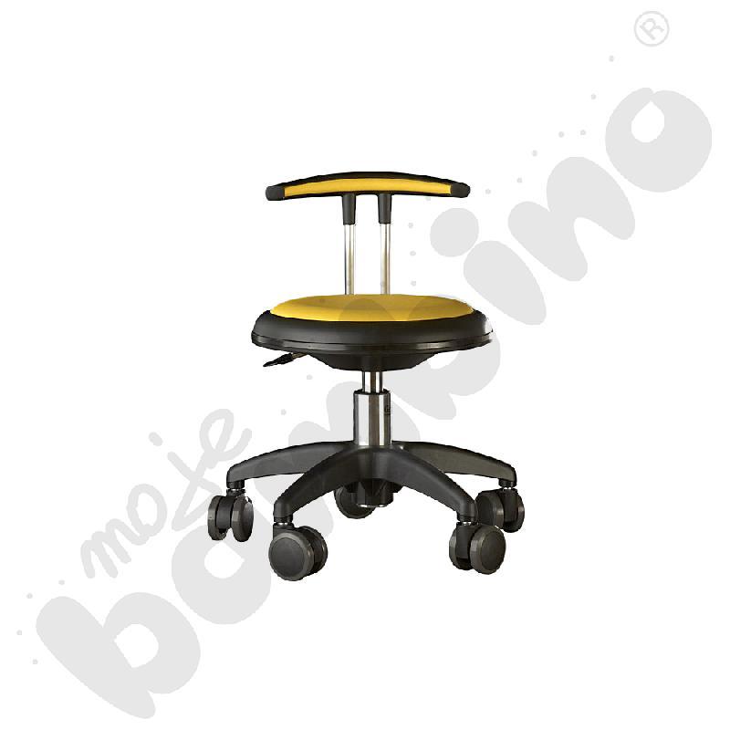 Krzesło Genito z oparciem, wys. 30-38 cm - żółte