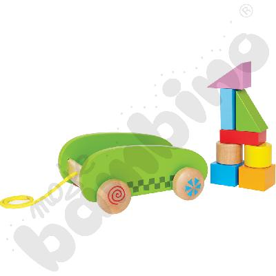 Mini wózek z kolorowymi klockami